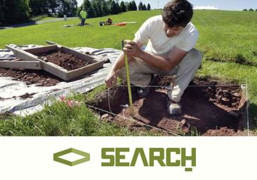 Archeologist searching through the ground with SEARCH Inc logo