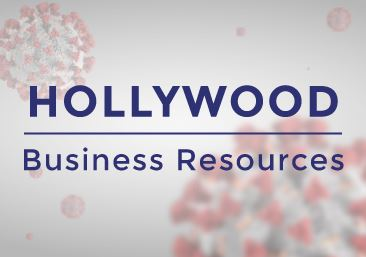 Hollywood Business Resources over COVID spores background